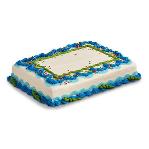 sheet cake with blue icing