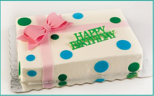 dotted cake with happy birthday message