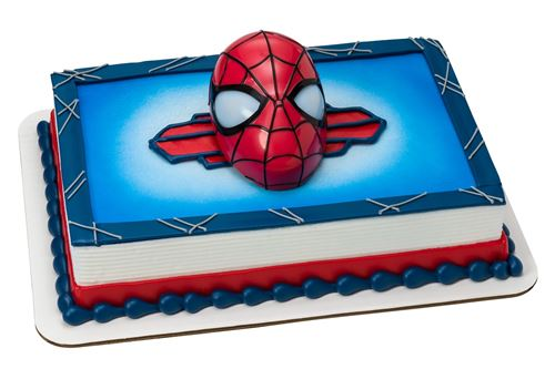 blue and red spider-man cake