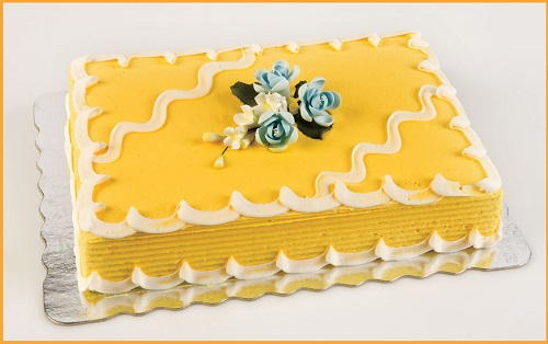 sheet cake with yellow icing