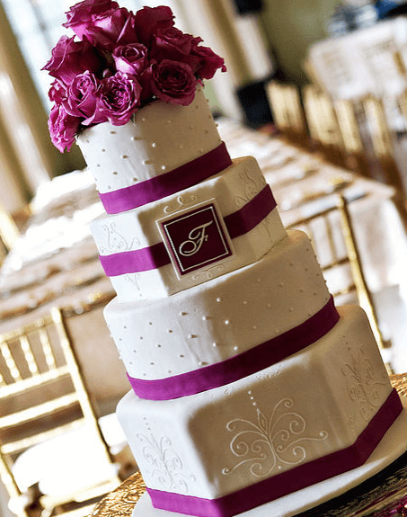 couture cakes monogram wedding cake