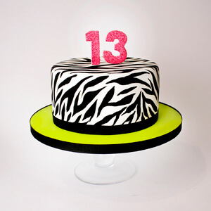 charm city zebra birthday cake