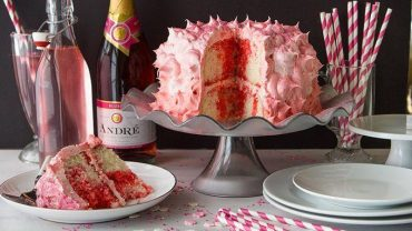 pink champagne birthday cake
