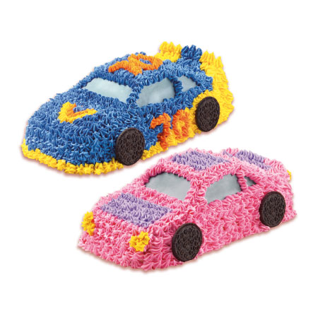 pink and blue race car cakes