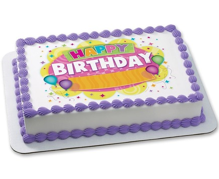 birthday cake with purple borders