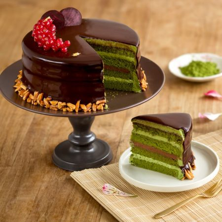 cake with chocolate and matcha