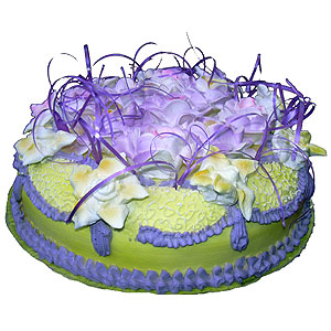 cake decorated with purple flowers