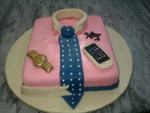pink shirt and blue tie cake