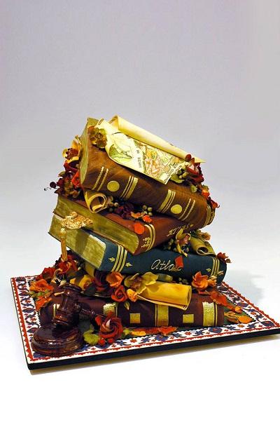 cakes shaped like a tower of books