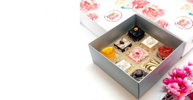 box full of small cakes