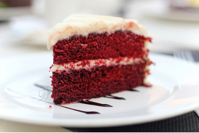 red velvet cake serve in a plate