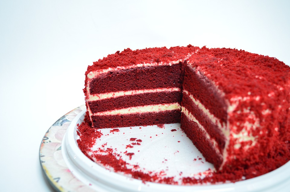red velvet butter cake in a plate