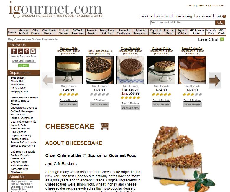 igourmet cheesecake website