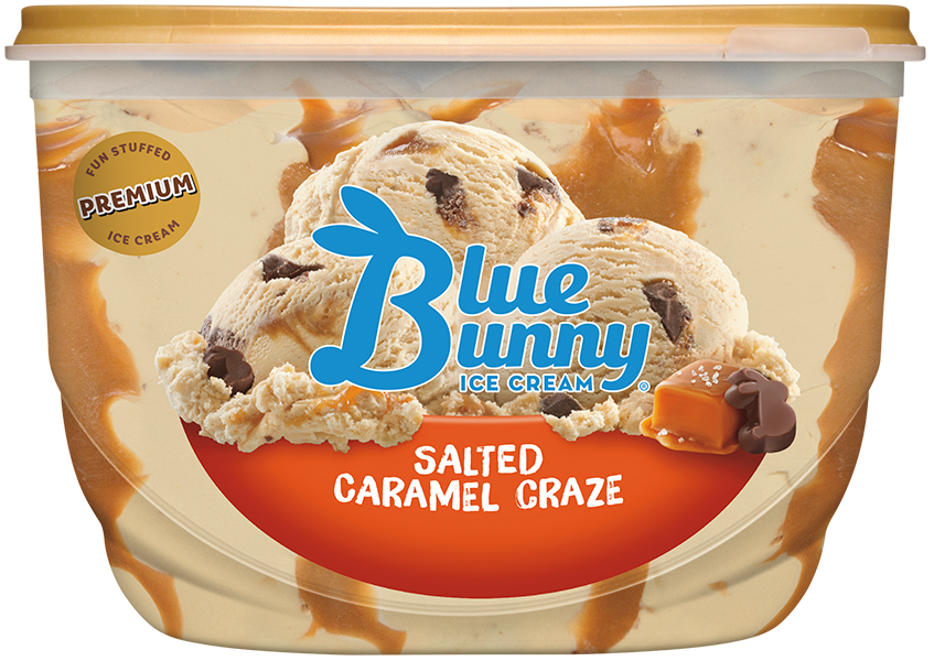 salted caramel craze ice cream by blue bunny