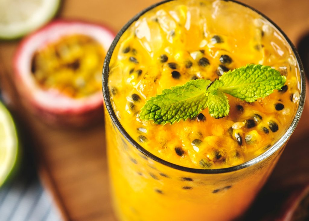 Fresh passion fruit drink in a glass